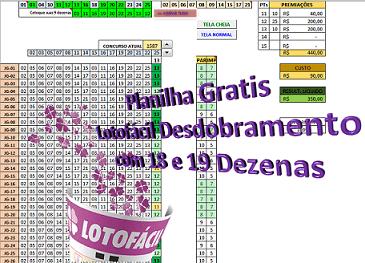 Imagem do produto Lotofácil - Planilha Desdobramento Lotofácil 18 E 19 Dezenas+conferidor
